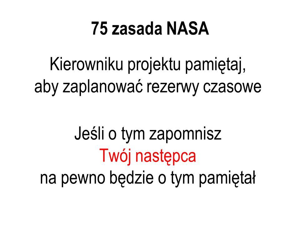 75 zasada NASA Kierowniku projektu pamiętaj, aby zaplanować rezerwy czasowe Jeśli o tym zapomnisz Twój następca na pewno będzie o tym pamiętał