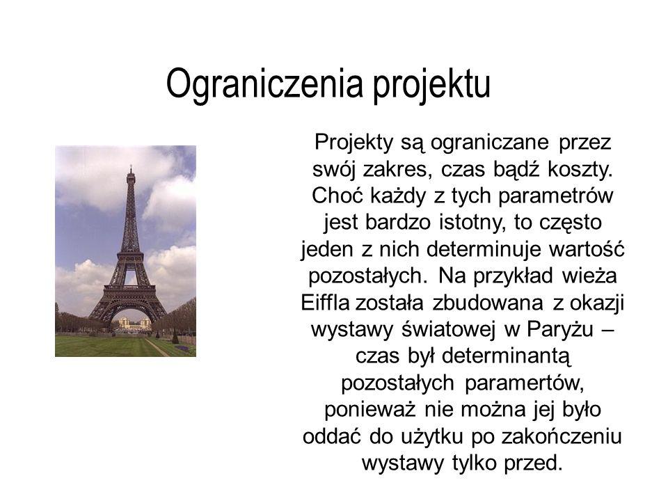 Struktura organizacyjna projektu Główny dostawca Główny użytkownik Przewo- dniczący Kierownik zespołu Nadzór Wsparcie projektu Zasoby projektu Kierownik projektu Komitet sterujący