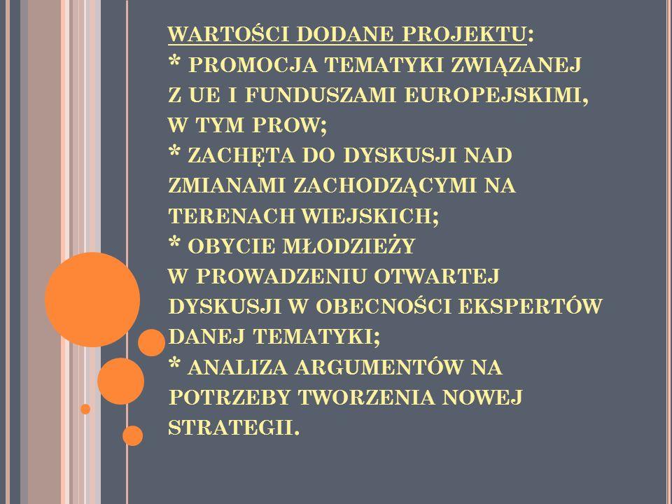 WARTOŚCI DODANE PROJEKTU : * PROMOCJA TEMATYKI ZWIĄZANEJ Z UE I FUNDUSZAMI EUROPEJSKIMI, W TYM PROW ; * ZACHĘTA DO DYSKUSJI NAD ZMIANAMI ZACHODZĄCYMI NA TERENACH WIEJSKICH ; * OBYCIE MŁODZIEŻY W PROWADZENIU OTWARTEJ DYSKUSJI W OBECNOŚCI EKSPERTÓW DANEJ TEMATYKI ; * ANALIZA ARGUMENTÓW NA POTRZEBY TWORZENIA NOWEJ STRATEGII.