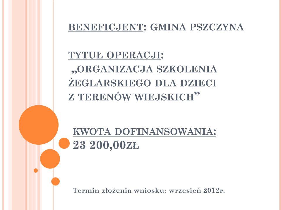 BENEFICJENT : GMINA PSZCZYNA TYTUŁ OPERACJI : ORGANIZACJA SZKOLENIA ŻEGLARSKIEGO DLA DZIECI Z TERENÓW WIEJSKICH Termin złożenia wniosku: wrzesień 2012r.
