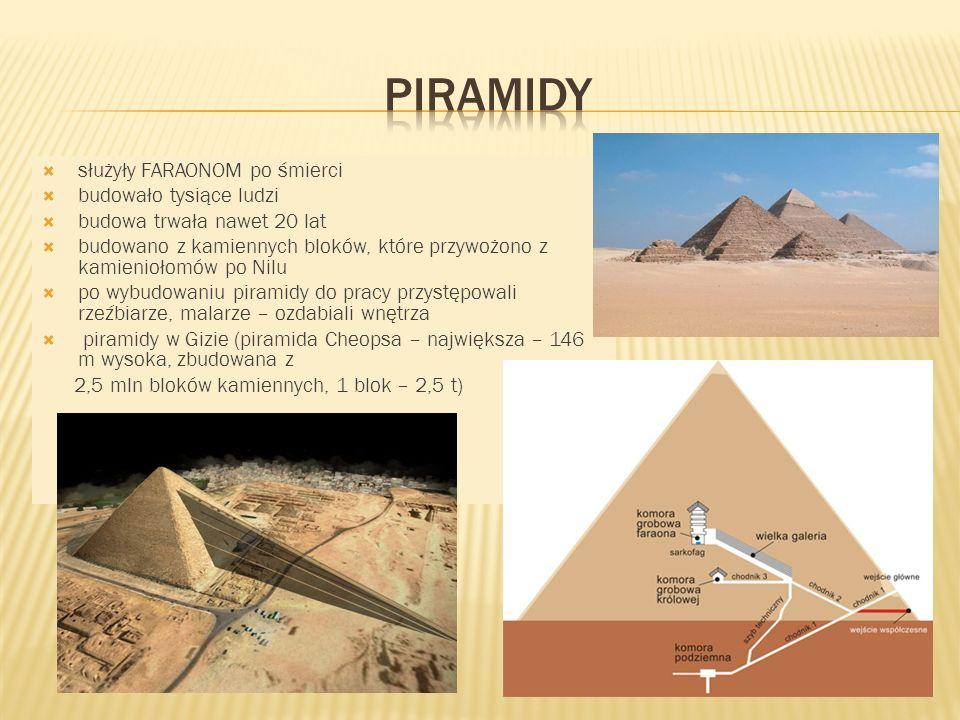 służyły FARAONOM po śmierci budowało tysiące ludzi budowa trwała nawet 20 lat budowano z kamiennych bloków, które przywożono z kamieniołomów po Nilu p