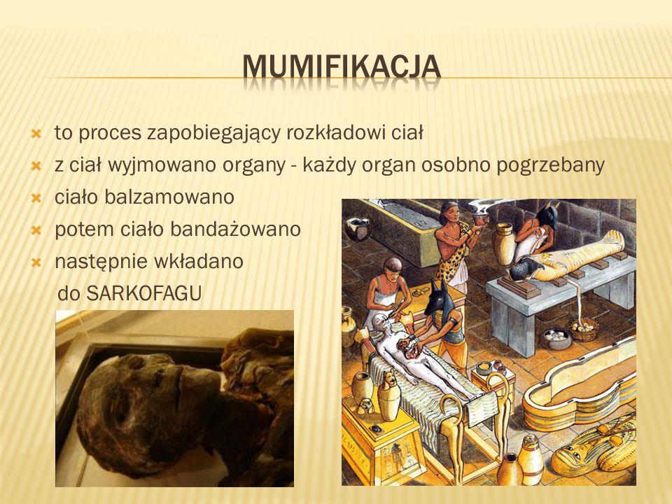 to proces zapobiegający rozkładowi ciał z ciał wyjmowano organy - każdy organ osobno pogrzebany ciało balzamowano potem ciało bandażowano następnie wk