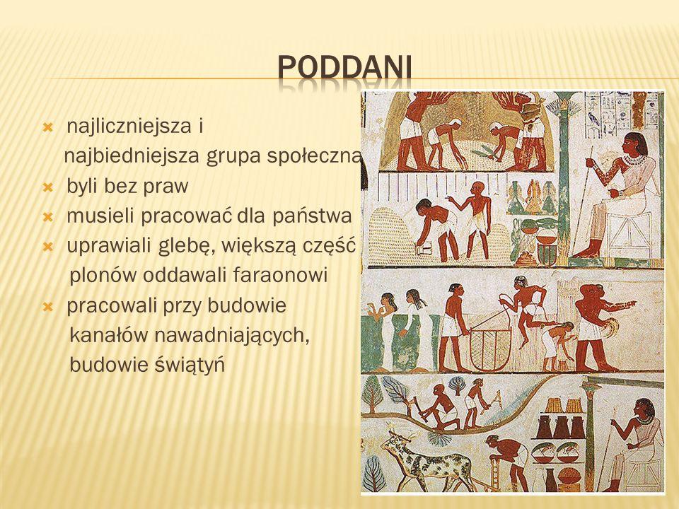 najliczniejsza i najbiedniejsza grupa społeczna byli bez praw musieli pracować dla państwa uprawiali glebę, większą część plonów oddawali faraonowi pr