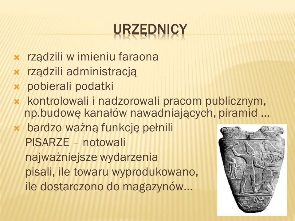 rządzili w imieniu faraona rządzili administracją pobierali podatki kontrolowali i nadzorowali pracom publicznym, np.budowę kanałów nawadniających, pi