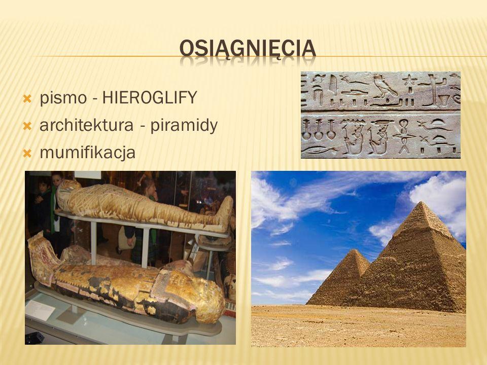 pismo obrazkowe nazywane hieroglify pisano na papirusie papirus- wyrabiany z włókien rośliny cibory papirusowej rosnącej na rozlewiskach Nilu, następnie włókna przez siebie przekładano i suszono