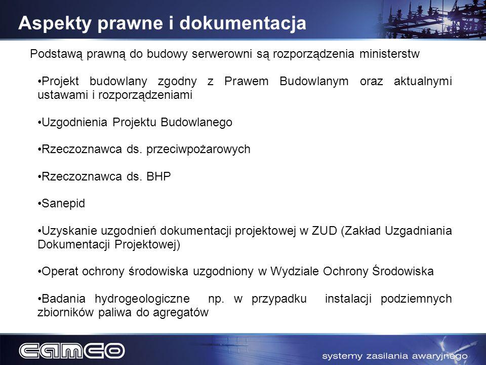 Aspekty prawne i dokumentacja Podstawą prawną do budowy serwerowni są rozporządzenia ministerstw Projekt budowlany zgodny z Prawem Budowlanym oraz akt