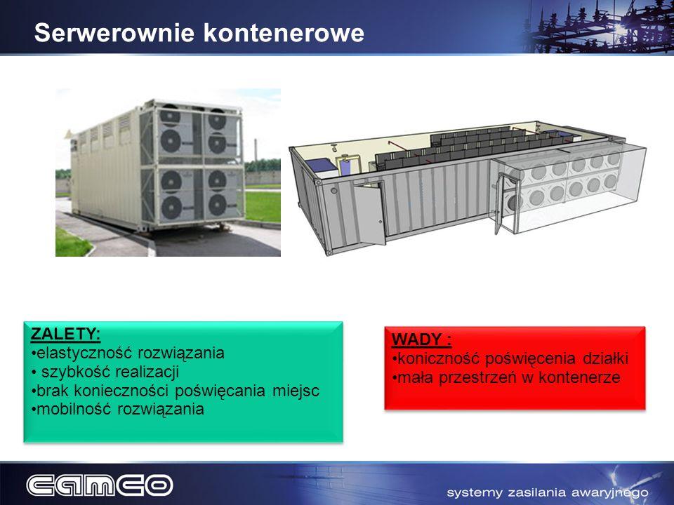 Serwerownie kontenerowe ZALETY: elastyczność rozwiązania szybkość realizacji brak konieczności poświęcania miejsc mobilność rozwiązania ZALETY: elasty