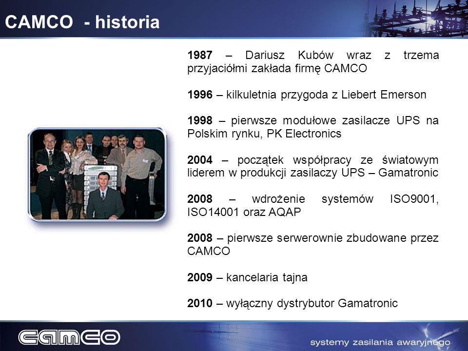 CAMCO - historia 1987 – Dariusz Kubów wraz z trzema przyjaciółmi zakłada firmę CAMCO 1996 – kilkuletnia przygoda z Liebert Emerson 1998 – pierwsze mod
