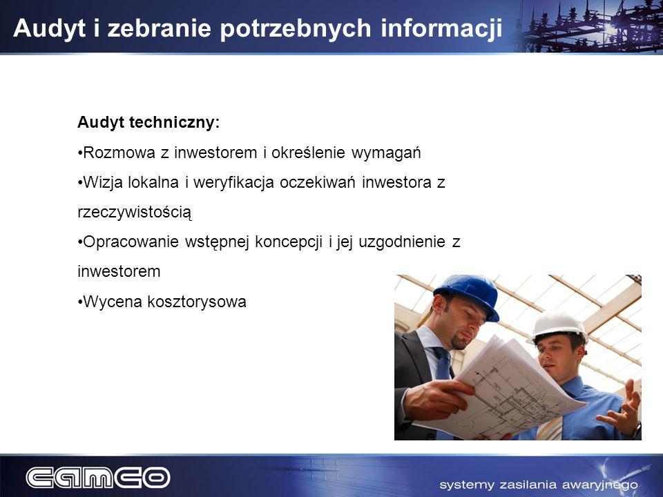 Audyt i zebranie potrzebnych informacji Audyt techniczny: Rozmowa z inwestorem i określenie wymagań Wizja lokalna i weryfikacja oczekiwań inwestora z