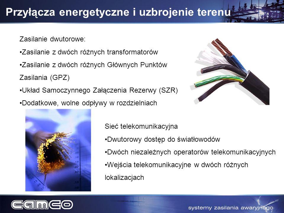 Przyłącza energetyczne i uzbrojenie terenu Zasilanie dwutorowe: Zasilanie z dwóch różnych transformatorów Zasilanie z dwóch różnych Głównych Punktów Z
