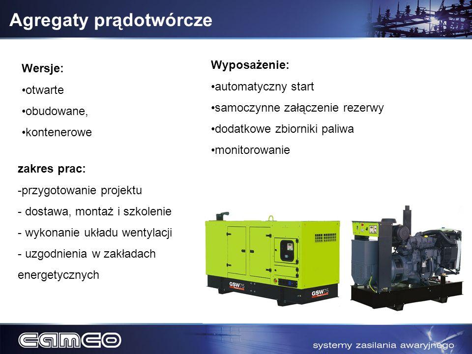 Agregaty prądotwórcze zakres prac: -przygotowanie projektu - dostawa, montaż i szkolenie - wykonanie układu wentylacji - uzgodnienia w zakładach energ