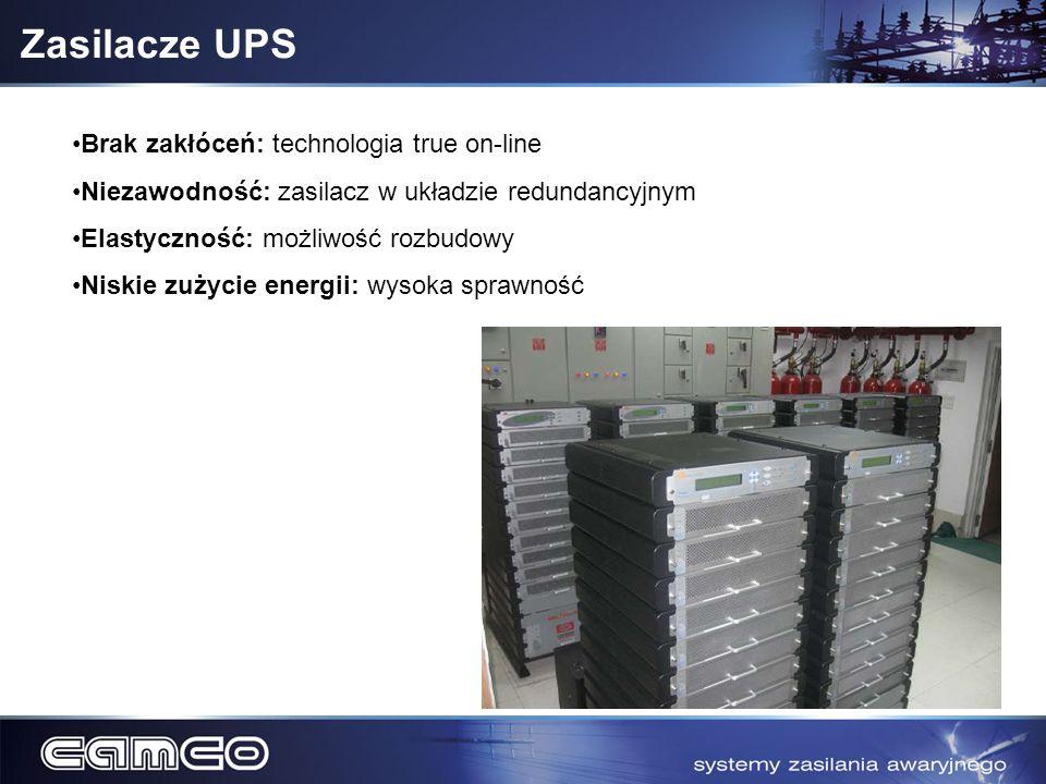 Zasilacze UPS Brak zakłóceń: technologia true on-line Niezawodność: zasilacz w układzie redundancyjnym Elastyczność: możliwość rozbudowy Niskie zużyci