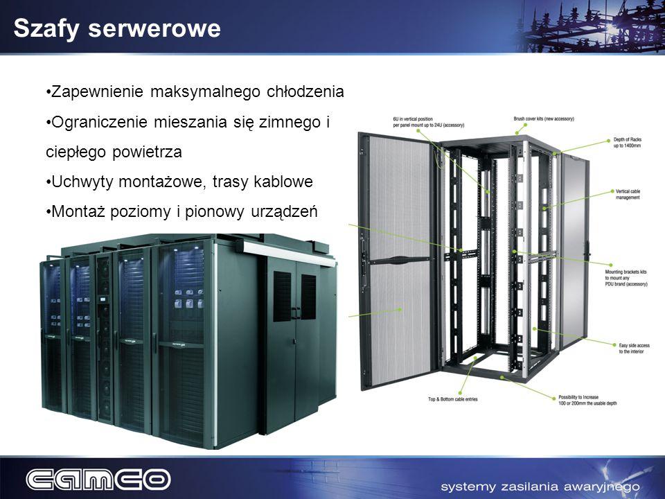Szafy serwerowe Zapewnienie maksymalnego chłodzenia Ograniczenie mieszania się zimnego i ciepłego powietrza Uchwyty montażowe, trasy kablowe Montaż po