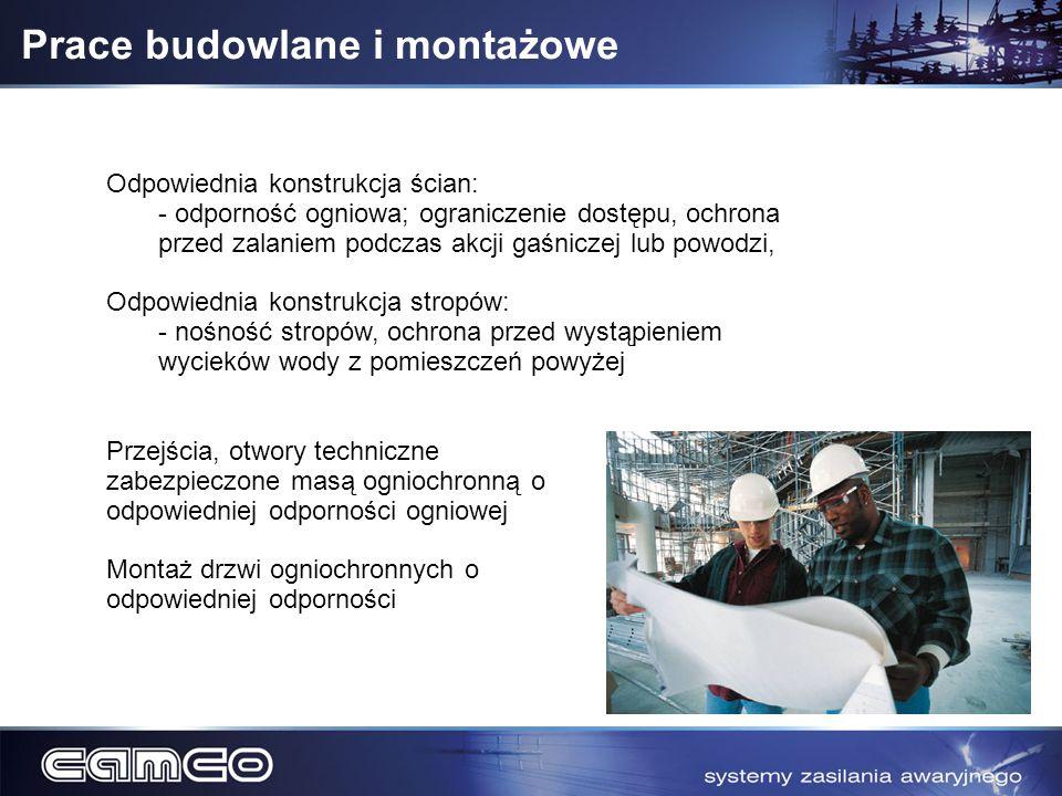 Prace budowlane i montażowe Odpowiednia konstrukcja ścian: - odporność ogniowa; ograniczenie dostępu, ochrona przed zalaniem podczas akcji gaśniczej l