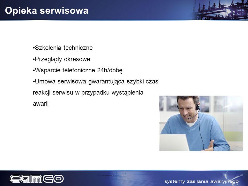 Opieka serwisowa Szkolenia techniczne Przeglądy okresowe Wsparcie telefoniczne 24h/dobę Umowa serwisowa gwarantująca szybki czas reakcji serwisu w prz