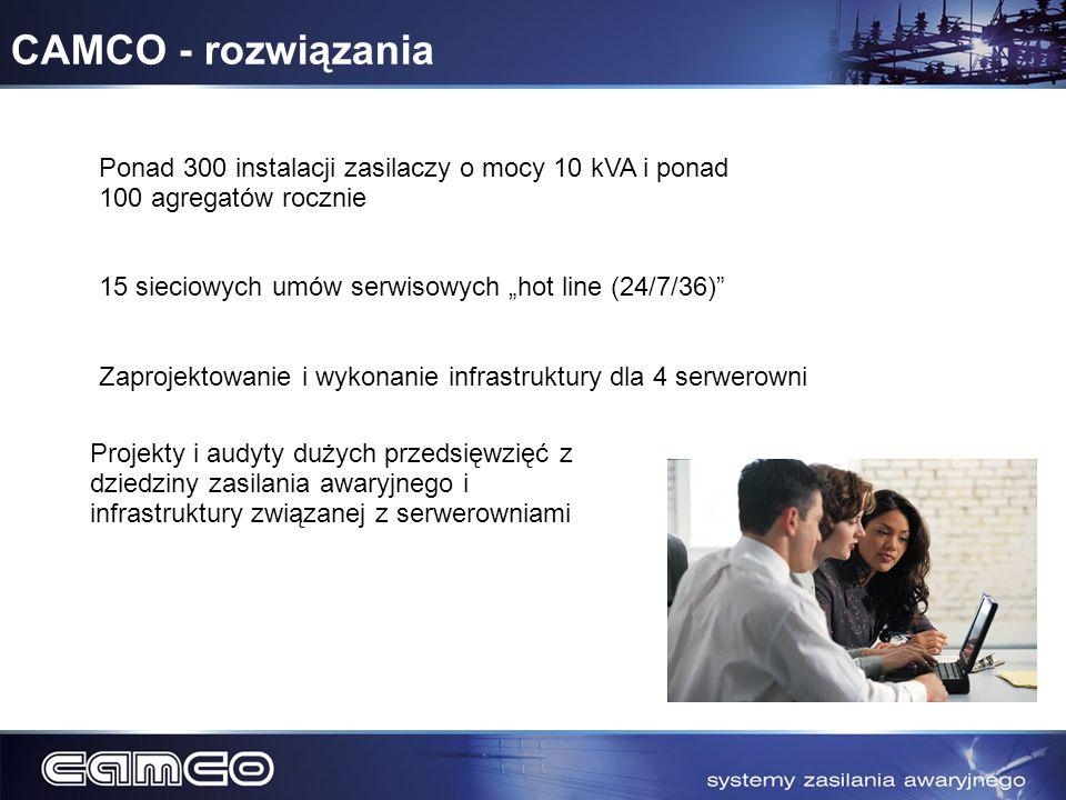 CAMCO - rozwiązania Ponad 300 instalacji zasilaczy o mocy 10 kVA i ponad 100 agregatów rocznie 15 sieciowych umów serwisowych hot line (24/7/36) Zapro