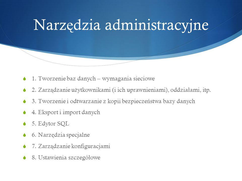 Narz ę dzia administracyjne 1.Tworzenie baz danych – wymagania sieciowe 2.