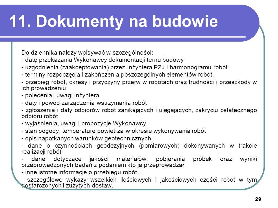 29 11. Dokumenty na budowie Do dziennika należy wpisywać w szczególności: - datę przekazania Wykonawcy dokumentacji ternu budowy - uzgodnienia (zaakce