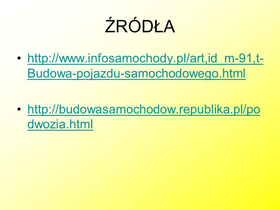 ŹRÓDŁA http://www.infosamochody.pl/art,id_m-91,t- Budowa-pojazdu-samochodowego.htmlhttp://www.infosamochody.pl/art,id_m-91,t- Budowa-pojazdu-samochodo