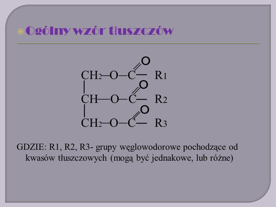 Ogólny wzór t ł uszczów CH 2 O CR 1 CH O CR 2 CH 2 O CR 3 GDZIE: R1, R2, R3- grupy węglowodorowe pochodzące od kwasów tłuszczowych (mogą być jednakowe, lub różne) O O O