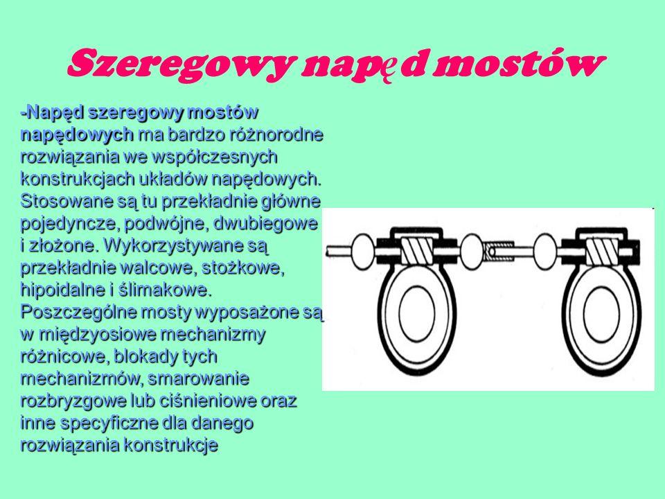Szeregowy nap ę d mostów -Napęd szeregowy mostów napędowych ma bardzo różnorodne rozwiązania we współczesnych konstrukcjach układów napędowych.