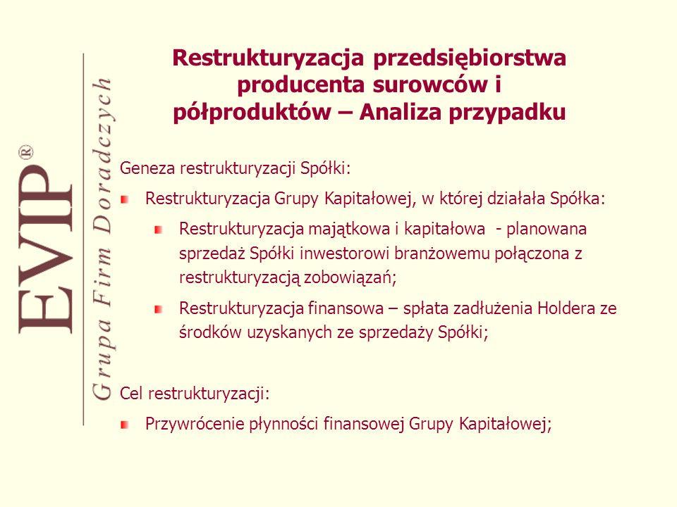 Restrukturyzacja przedsiębiorstwa producenta surowców i półproduktów – Analiza przypadku Geneza restrukturyzacji Spółki: Restrukturyzacja Grupy Kapitałowej, w której działała Spółka: Restrukturyzacja majątkowa i kapitałowa - planowana sprzedaż Spółki inwestorowi branżowemu połączona z restrukturyzacją zobowiązań; Restrukturyzacja finansowa – spłata zadłużenia Holdera ze środków uzyskanych ze sprzedaży Spółki; Cel restrukturyzacji: Przywrócenie płynności finansowej Grupy Kapitałowej;