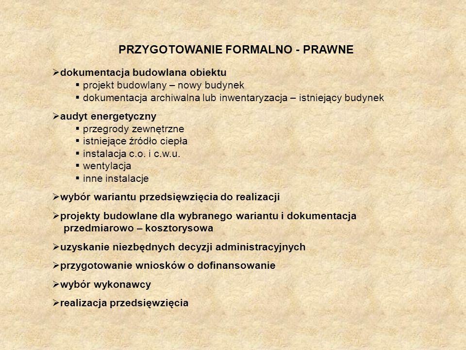PRZYGOTOWANIE FORMALNO - PRAWNE dokumentacja budowlana obiektu projekt budowlany – nowy budynek dokumentacja archiwalna lub inwentaryzacja – istniejąc