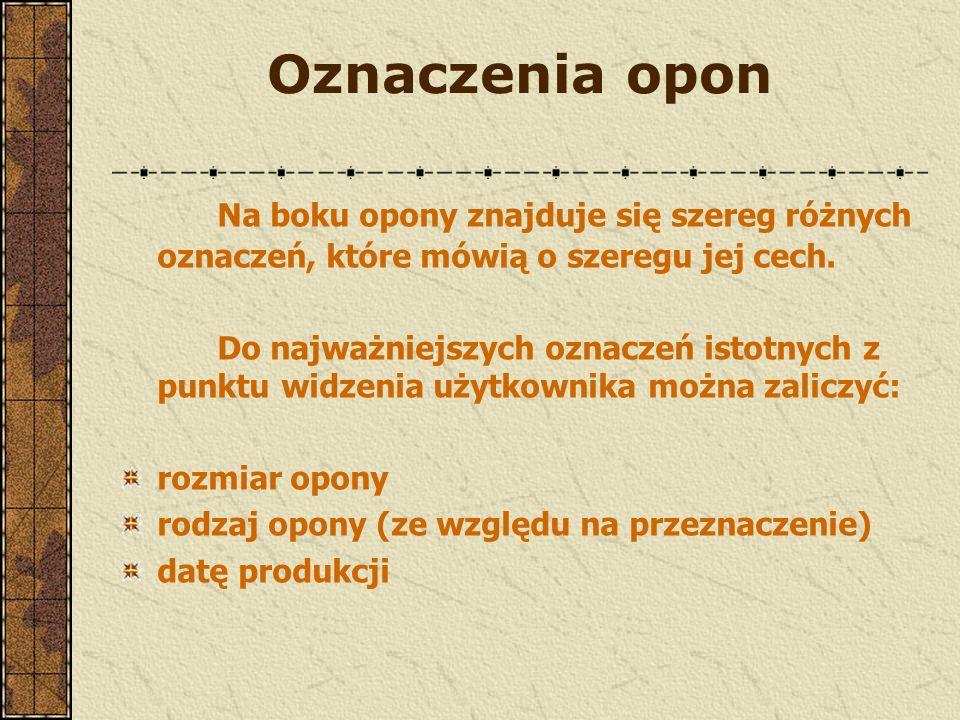 Oznaczenia opon Na boku opony znajduje się szereg różnych oznaczeń, które mówią o szeregu jej cech.