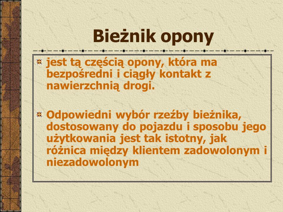 Oznaczenia opon Na boku opony znajduje się szereg różnych oznaczeń, które mówią o szeregu jej cech. Do najważniejszych oznaczeń istotnych z punktu wid