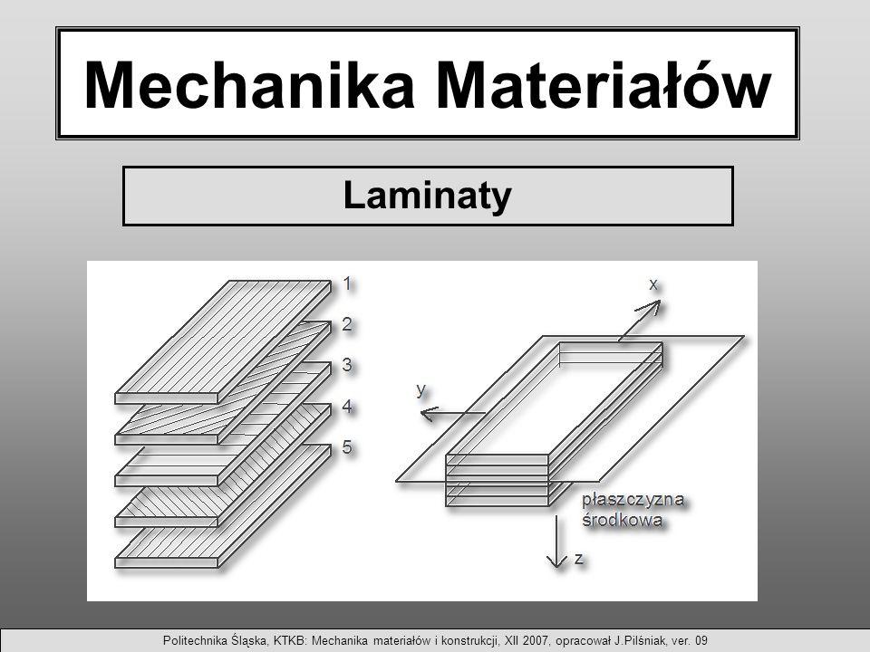 Mechanika Materiałów Laminaty Politechnika Śląska, KTKB: Mechanika materiałów i konstrukcji, XII 2007, opracował J.Pilśniak, ver.
