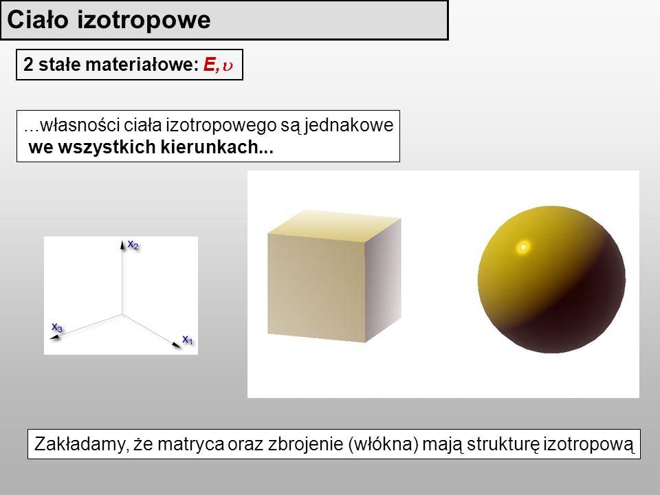 2 stałe materiałowe: E,...własności ciała izotropowego są jednakowe we wszystkich kierunkach...