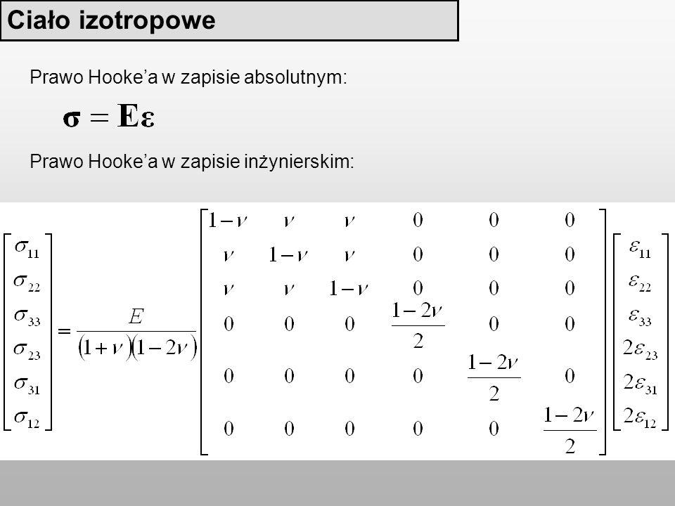 Prawo Hookea w zapisie inżynierskim: Prawo Hookea w zapisie absolutnym: