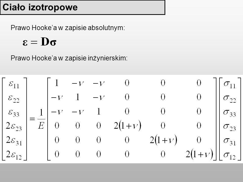 Ciało izotropowe Prawo Hookea w zapisie inżynierskim: Prawo Hookea w zapisie absolutnym:
