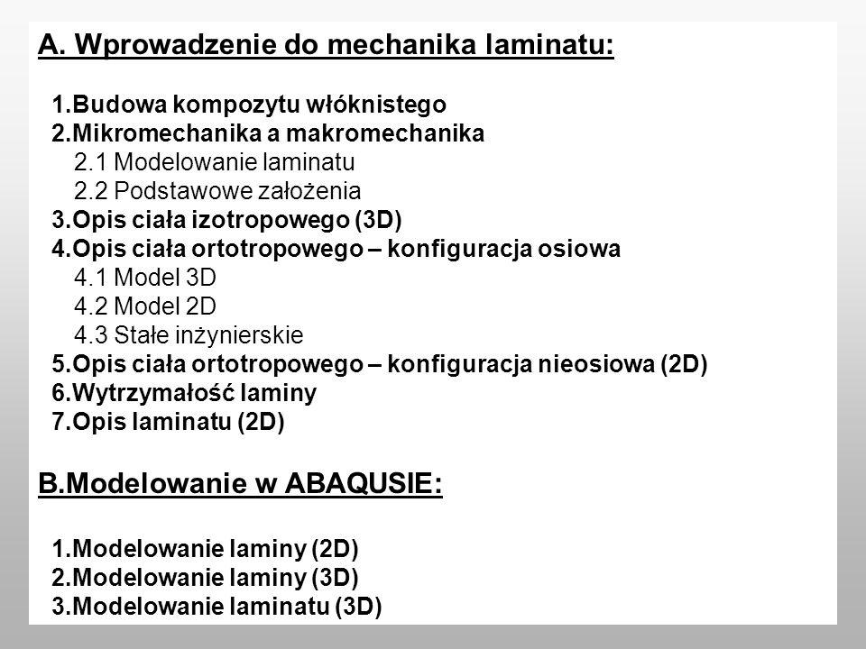 A. Wprowadzenie do mechanika laminatu: 1.Budowa kompozytu włóknistego 2.Mikromechanika a makromechanika 2.1 Modelowanie laminatu 2.2 Podstawowe założe