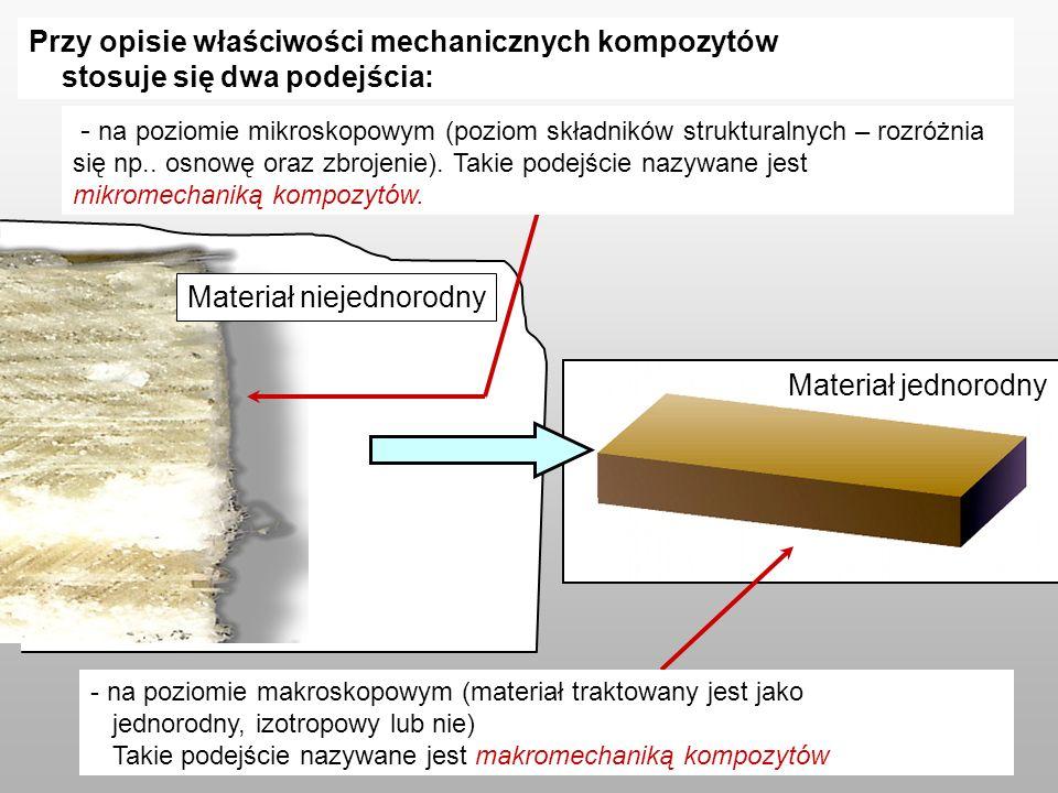 Przy opisie właściwości mechanicznych kompozytów stosuje się dwa podejścia: Materiał jednorodny Materiał niejednorodny - na poziomie mikroskopowym (poziom składników strukturalnych – rozróżnia się np..