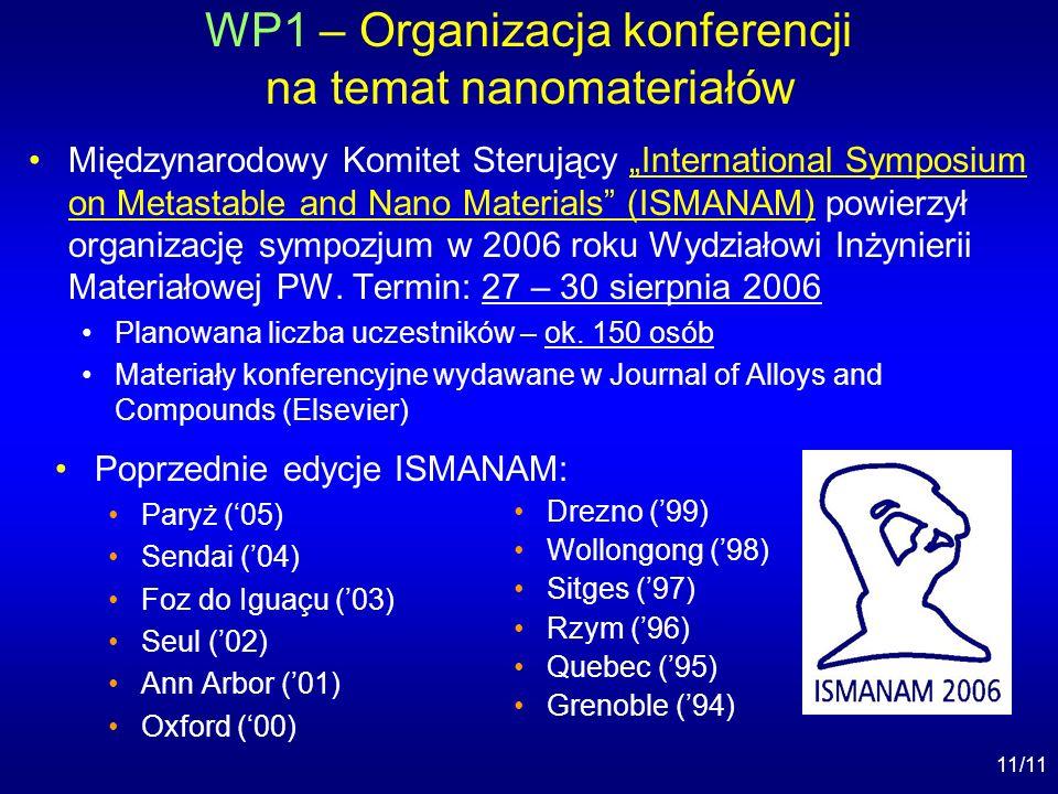 11/11 WP1 – Organizacja konferencji na temat nanomateriałów Międzynarodowy Komitet Sterujący International Symposium on Metastable and Nano Materials (ISMANAM) powierzył organizację sympozjum w 2006 roku Wydziałowi Inżynierii Materiałowej PW.