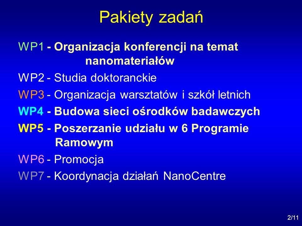 2/11 Pakiety zadań WP1 - Organizacja konferencji na temat nanomateriałów WP2 - Studia doktoranckie WP3 - Organizacja warsztatów i szkół letnich WP4 - Budowa sieci ośrodków badawczych WP5 - Poszerzanie udziału w 6 Programie Ramowym WP6 - Promocja WP7 - Koordynacja działań NanoCentre