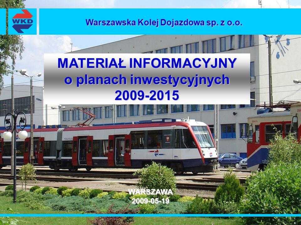 MATERIAŁ INFORMACYJNY o planach inwestycyjnych 2009-2015 WARSZAWA2009-05-19 Warszawska Kolej Dojazdowa sp. z o.o.