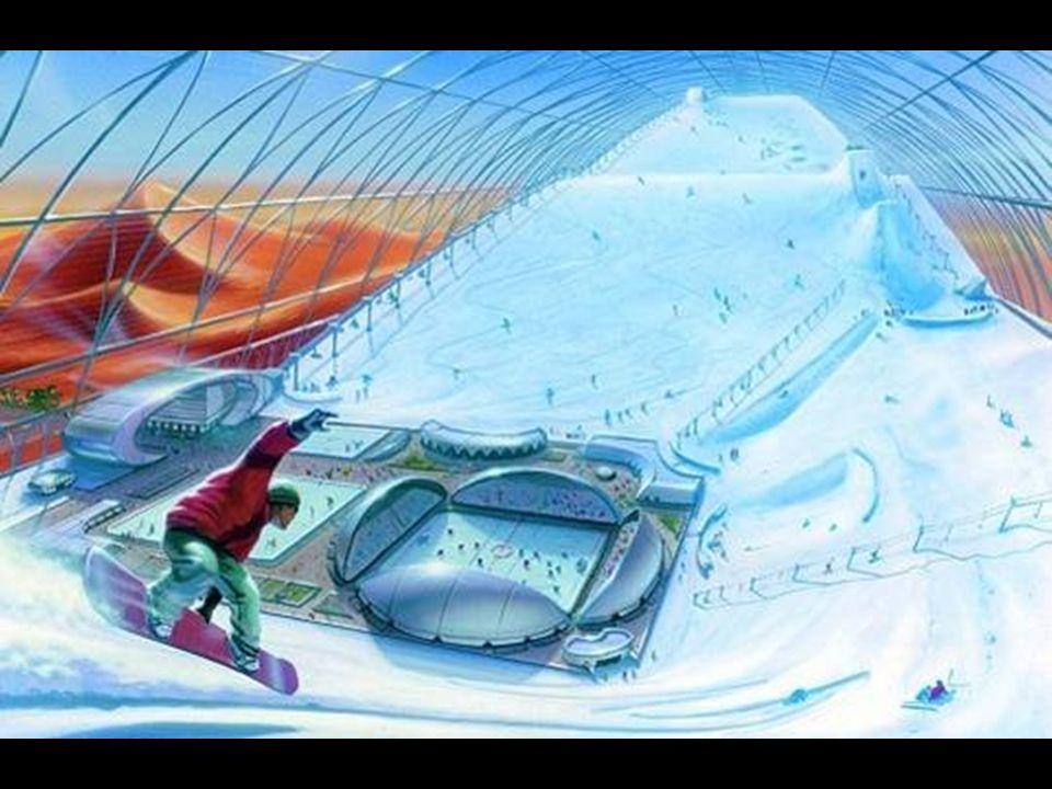 Otwarto już największą zamkniętą halę narciarską świata. Ta ilustracja przedstawia szkic drugiej kolejnej - planowanej.