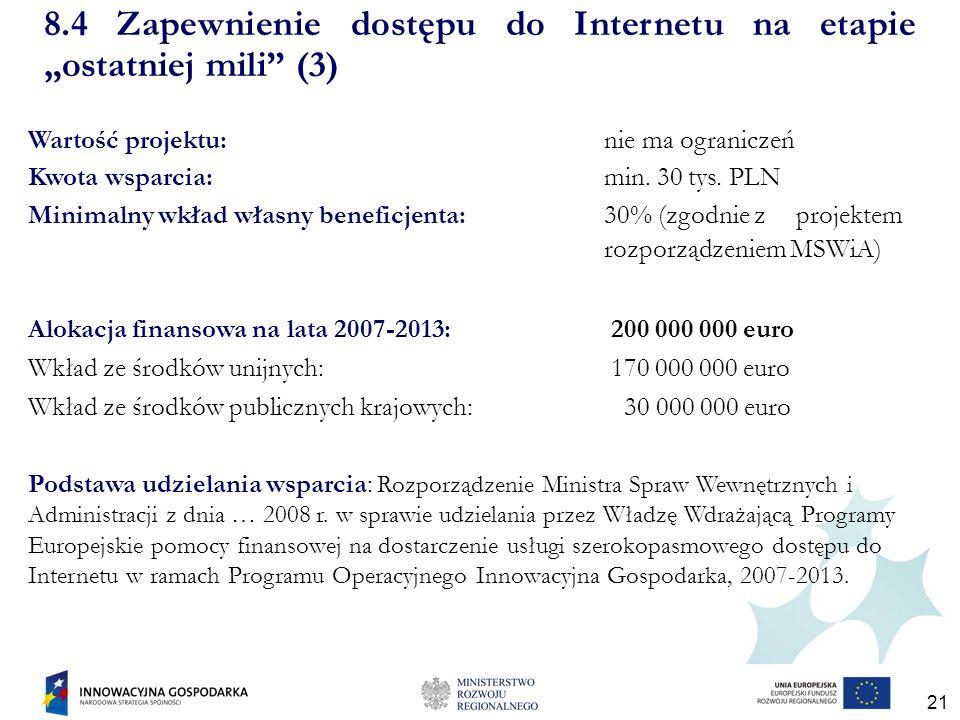 21 Wartość projektu: nie ma ograniczeń Kwota wsparcia: min.