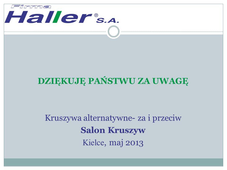DZIĘKUJĘ PAŃSTWU ZA UWAGĘ Kruszywa alternatywne- za i przeciw Salon Kruszyw Kielce, maj 2013