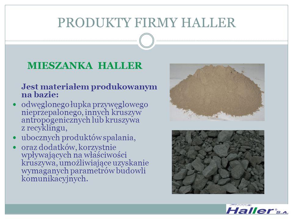 MIESZANKA HALLER Jest materiałem produkowanym na bazie: odwęglonego łupka przywęglowego nieprzepalonego, innych kruszyw antropogenicznych lub kruszywa