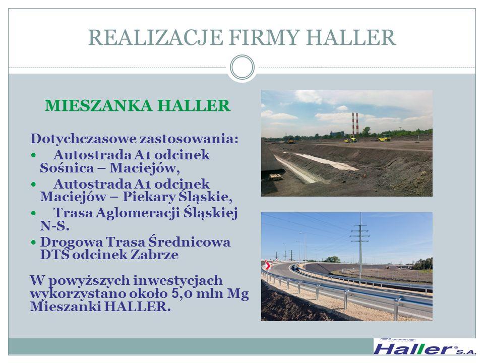 MIESZANKA HALLER Dotychczasowe zastosowania: Autostrada A1 odcinek Sośnica – Maciejów, Autostrada A1 odcinek Maciejów – Piekary Śląskie, Trasa Aglomer