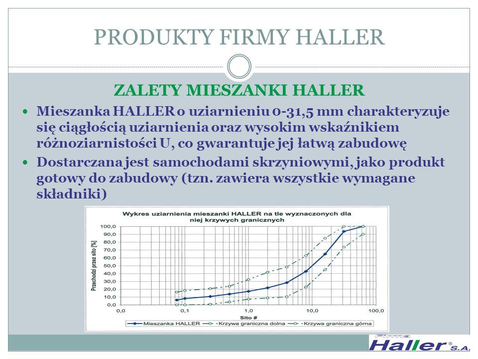 ZALETY MIESZANKI HALLER Mieszanka HALLER o uziarnieniu 0-31,5 mm charakteryzuje się ciągłością uziarnienia oraz wysokim wskaźnikiem różnoziarnistości