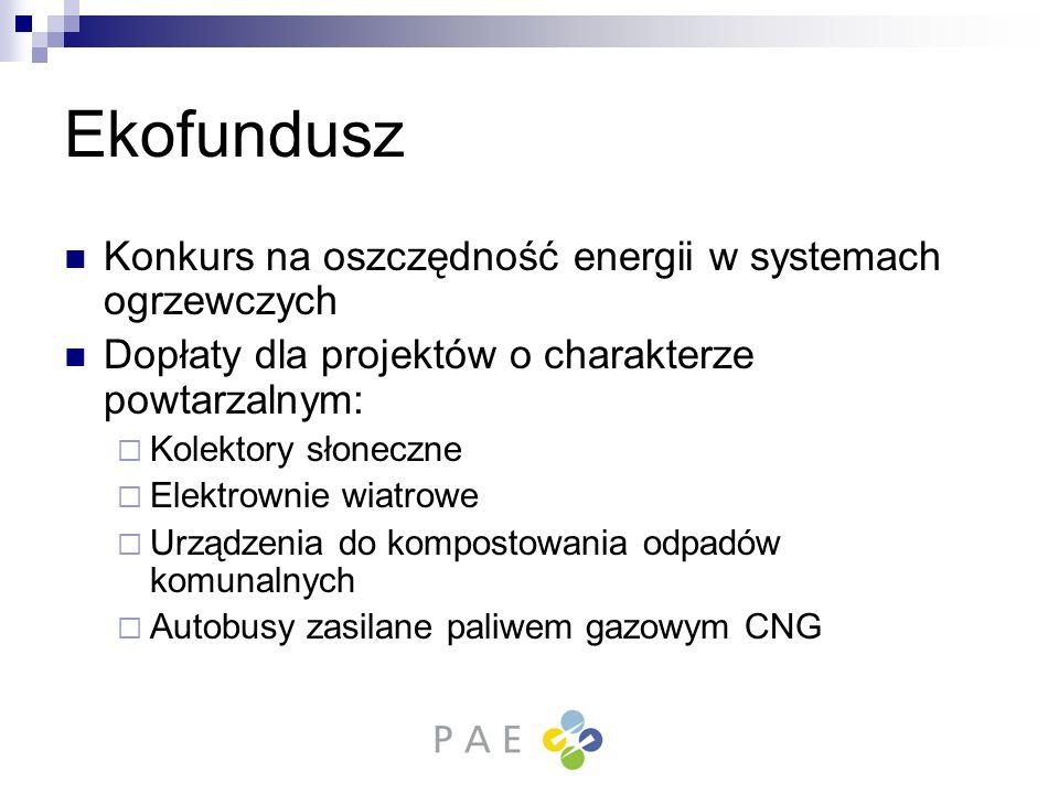 Ekofundusz Konkurs na oszczędność energii w systemach ogrzewczych Dopłaty dla projektów o charakterze powtarzalnym: Kolektory słoneczne Elektrownie wi