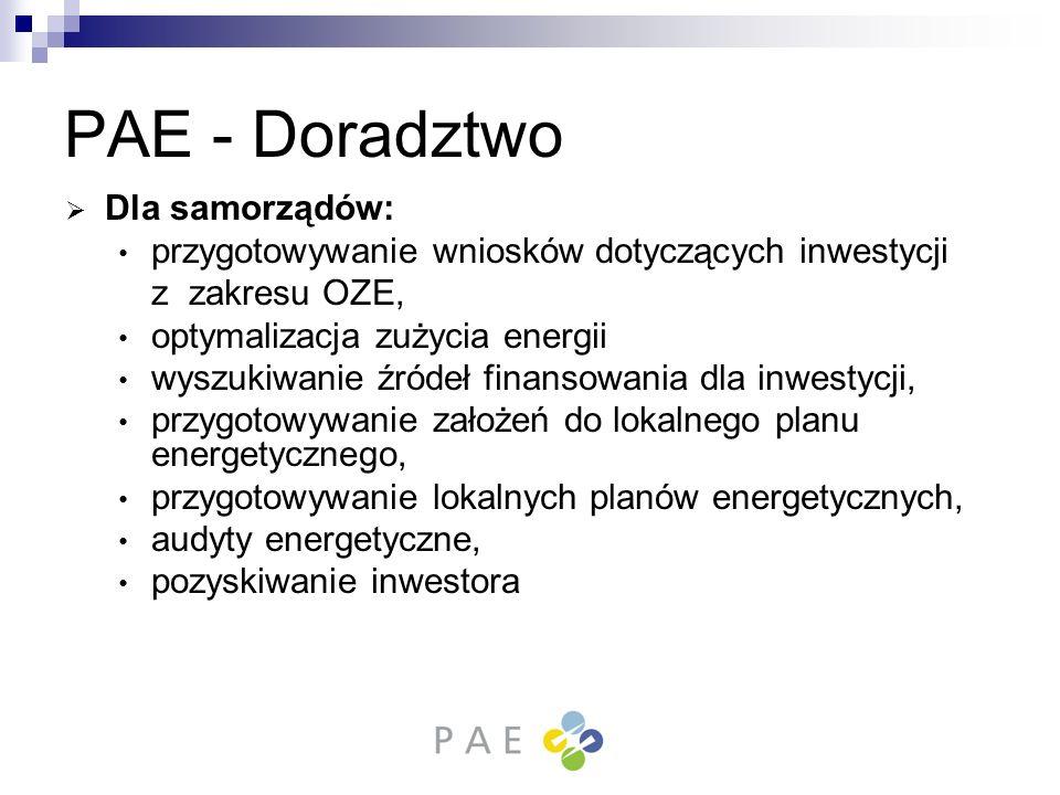 PAE - Doradztwo Dla samorządów: przygotowywanie wniosków dotyczących inwestycji z zakresu OZE, optymalizacja zużycia energii wyszukiwanie źródeł finan