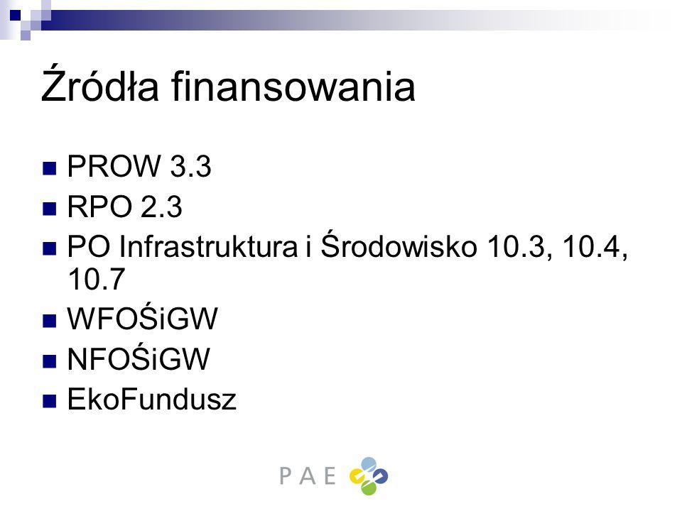 Źródła finansowania PROW 3.3 RPO 2.3 PO Infrastruktura i Środowisko 10.3, 10.4, 10.7 WFOŚiGW NFOŚiGW EkoFundusz