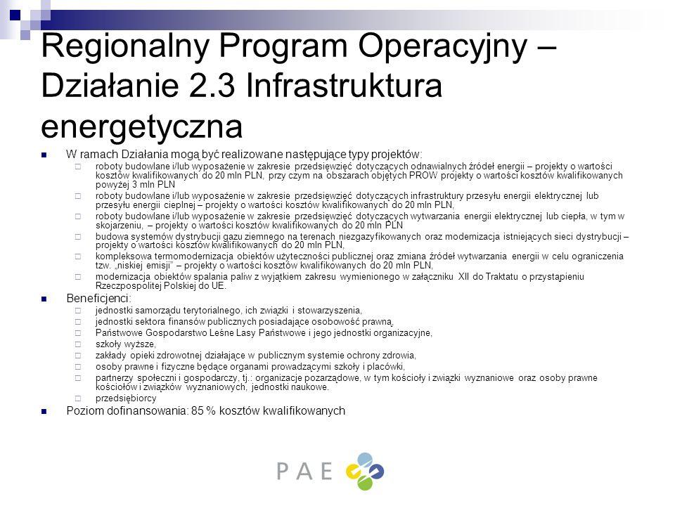 Regionalny Program Operacyjny – Działanie 2.3 Infrastruktura energetyczna W ramach Działania mogą być realizowane następujące typy projektów: roboty b