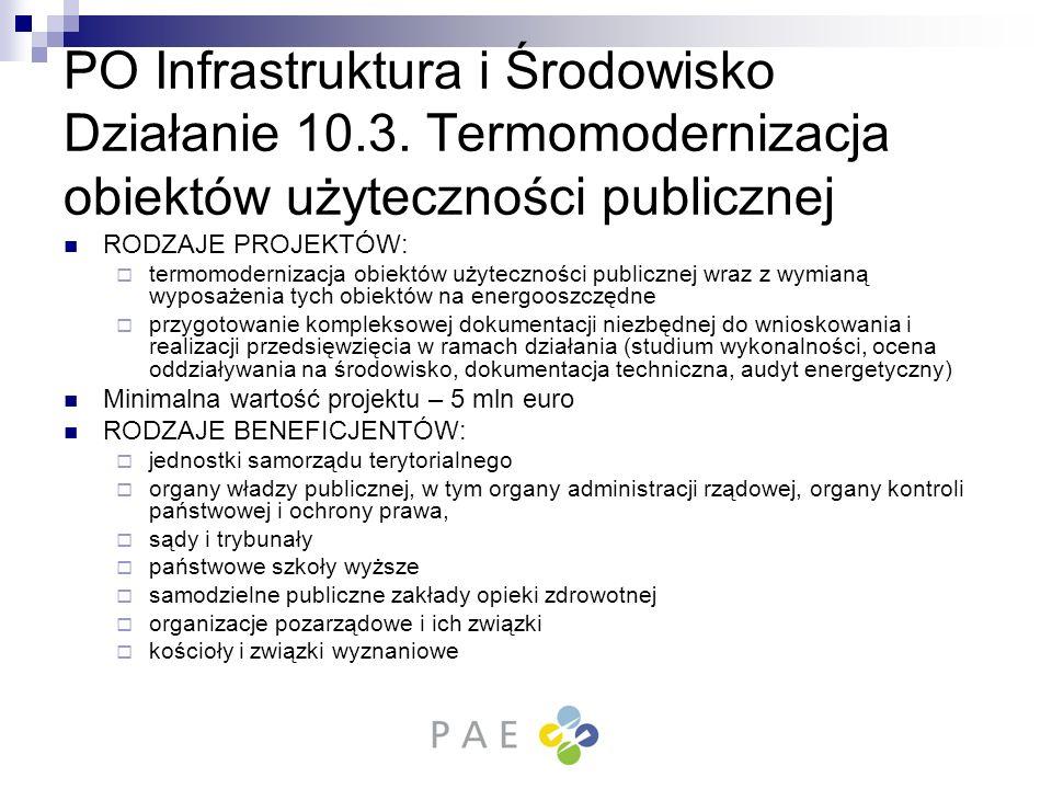 PO Infrastruktura i Środowisko Działanie 10.3. Termomodernizacja obiektów użyteczności publicznej RODZAJE PROJEKTÓW: termomodernizacja obiektów użytec