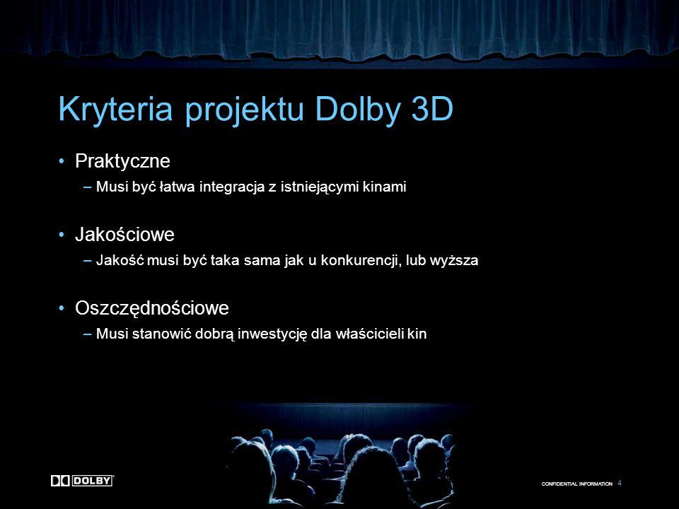 CONFIDENTIAL INFORMATION 4 Kryteria projektu Dolby 3D Praktyczne –Musi być łatwa integracja z istniejącymi kinami Jakościowe –Jakość musi być taka sam